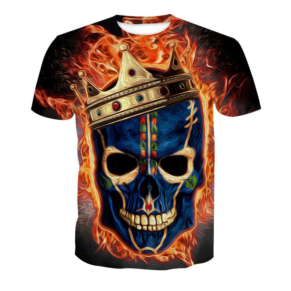 Short Sleeve Skull Printed T-Shirt - SKULL XL
