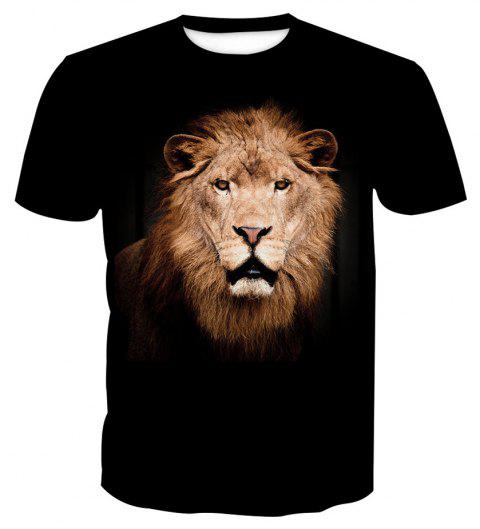 Short-Sleeved Lion Print T-Shirt - ANIMAL HEAD 2XL