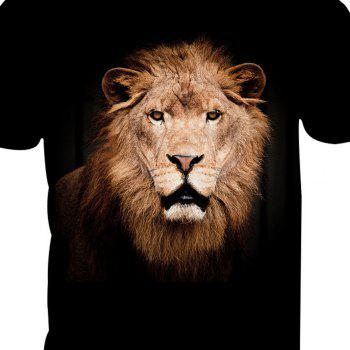 Short-Sleeved Lion Print T-Shirt - ANIMAL HEAD L
