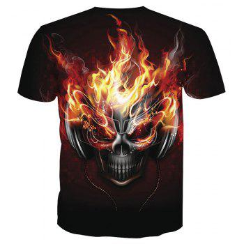 Skeleton Short Sleeve Printed T-Shirt - SKULL 6XL