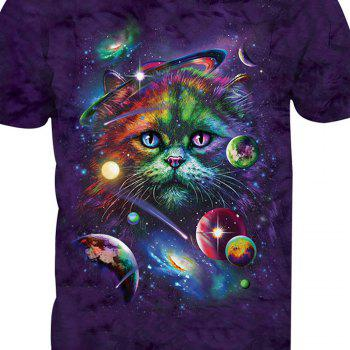 Short Sleeve Cat Printing T-Shirt - ANIMAL HEAD L