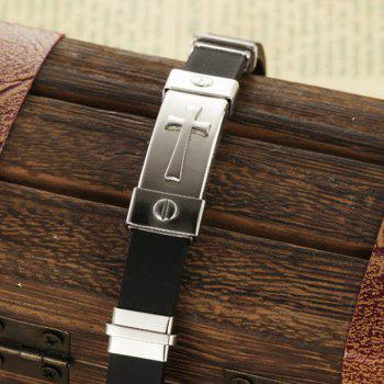 Men's Fashion Cross Silicone Bracelet Stainless Steel Magnetic Clasp Bangle - SILVER