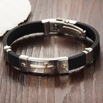 Men's Fashion Cross Silicone Bracelet Stainless Steel Magnetic Clasp Bangle - GOLDEN