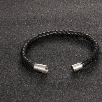 Men's Fashion Leather Braided Bracelet Stainless Steel Magnetic Clasp Bangle Wristband - BLACK 22CM