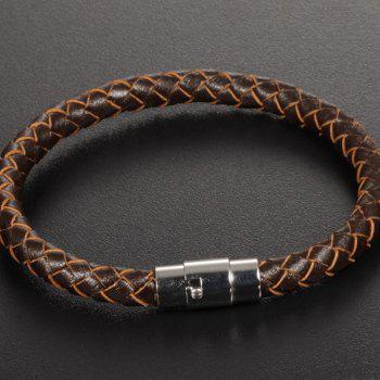 Men's Fashion Leather Braided Bracelet Stainless Steel Magnetic Clasp Bangle Wristband - BROWN 22CM