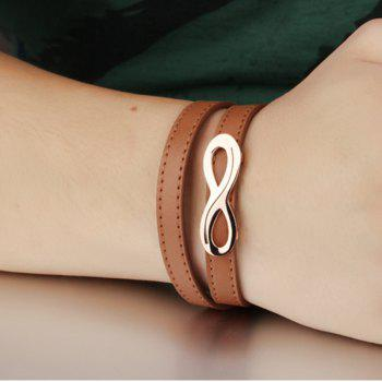 Men Leather and Stainless Steel Magnetic-Clasp Bracelet - BROWN
