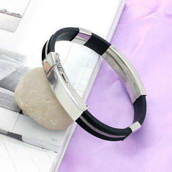 Men Black Braided Leather Bracelet with Stainless Steel Locking Clasp - BLACK