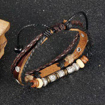 Multilayer Adjustable Leather Woven Braided Bangle Cross Bracelet Leaf Wrist Cuff Wristband - BROWN