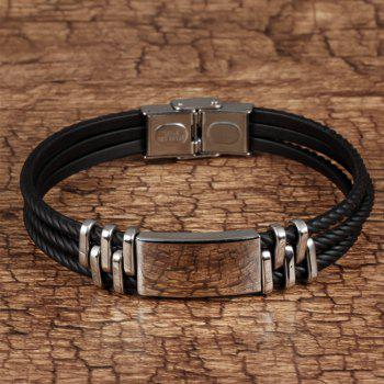 Handmade Punk Bracelet for Man Leather Cuff Bangle - BLACK