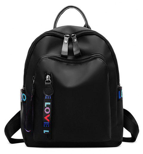 Oxford Cloth Pure Color Backpack - BLACK