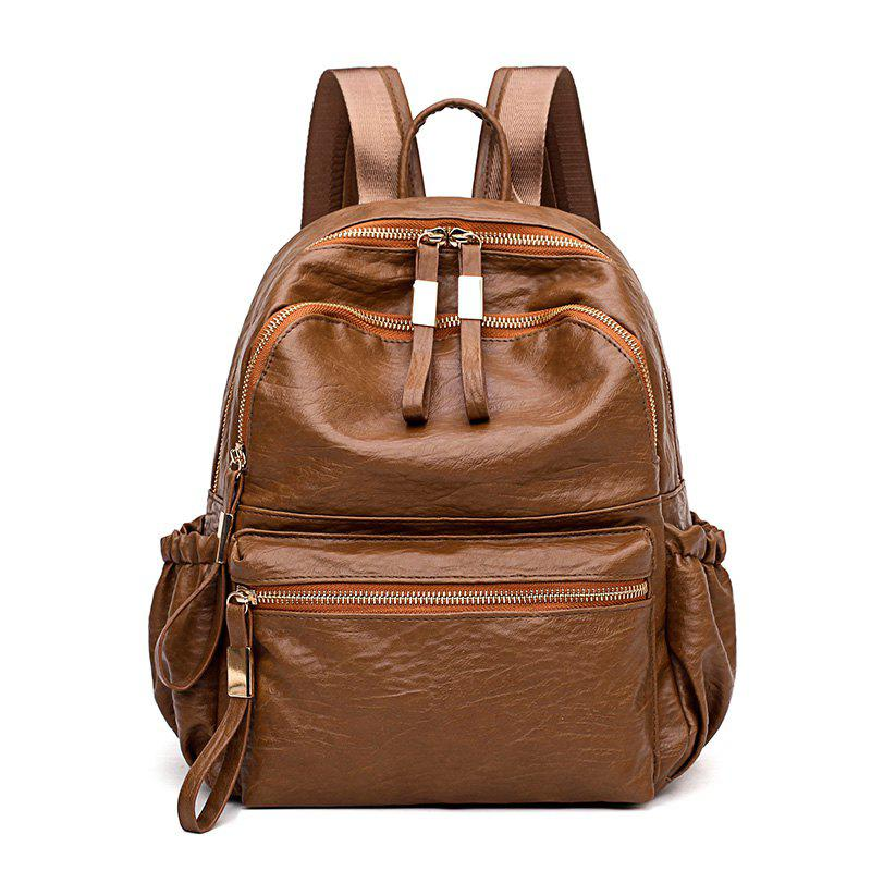Backpack Good Match Fashion New Style Package Cover Type PU - SUGAR BROWN