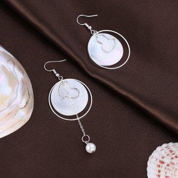 Asymmetric Shell Round Earrings - SILVER