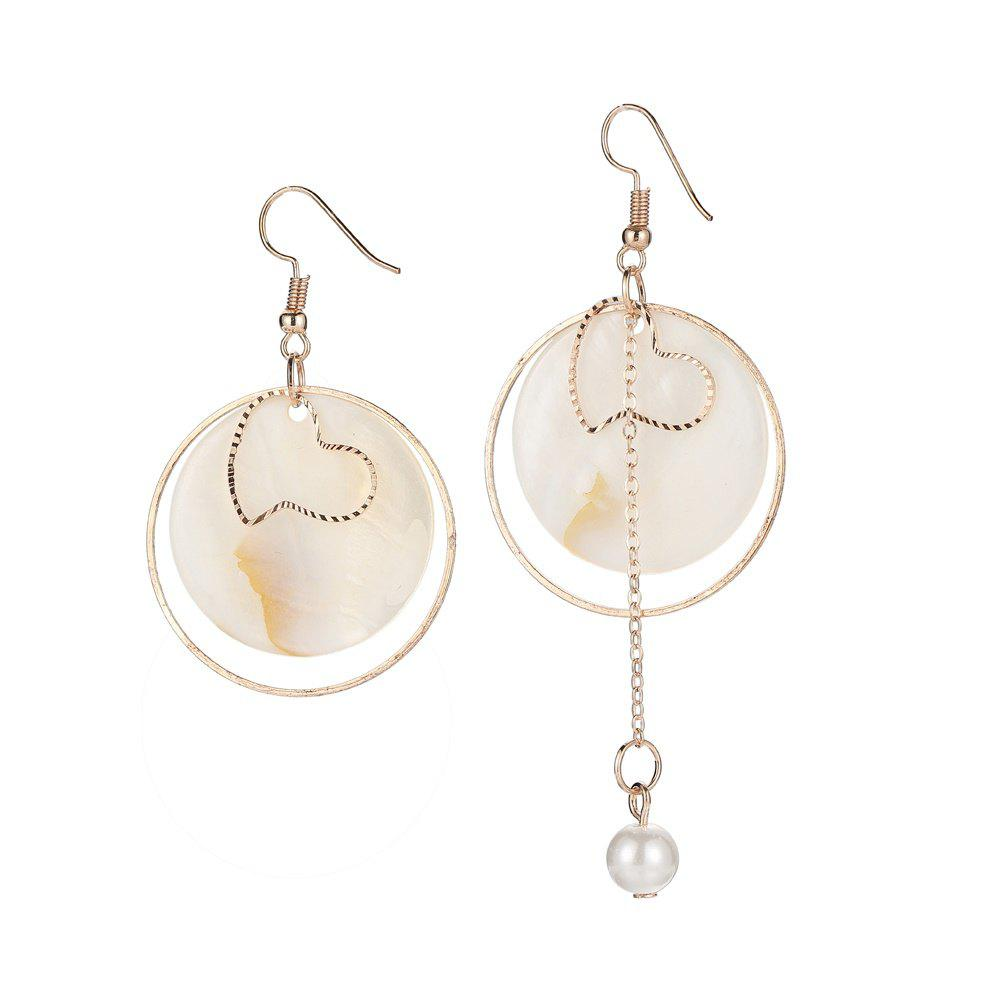 Asymmetric Shell Round Earrings - GOLDEN