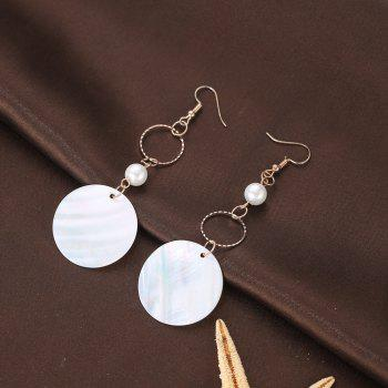 Round Shell Drop Earrings - ROSE GOLD