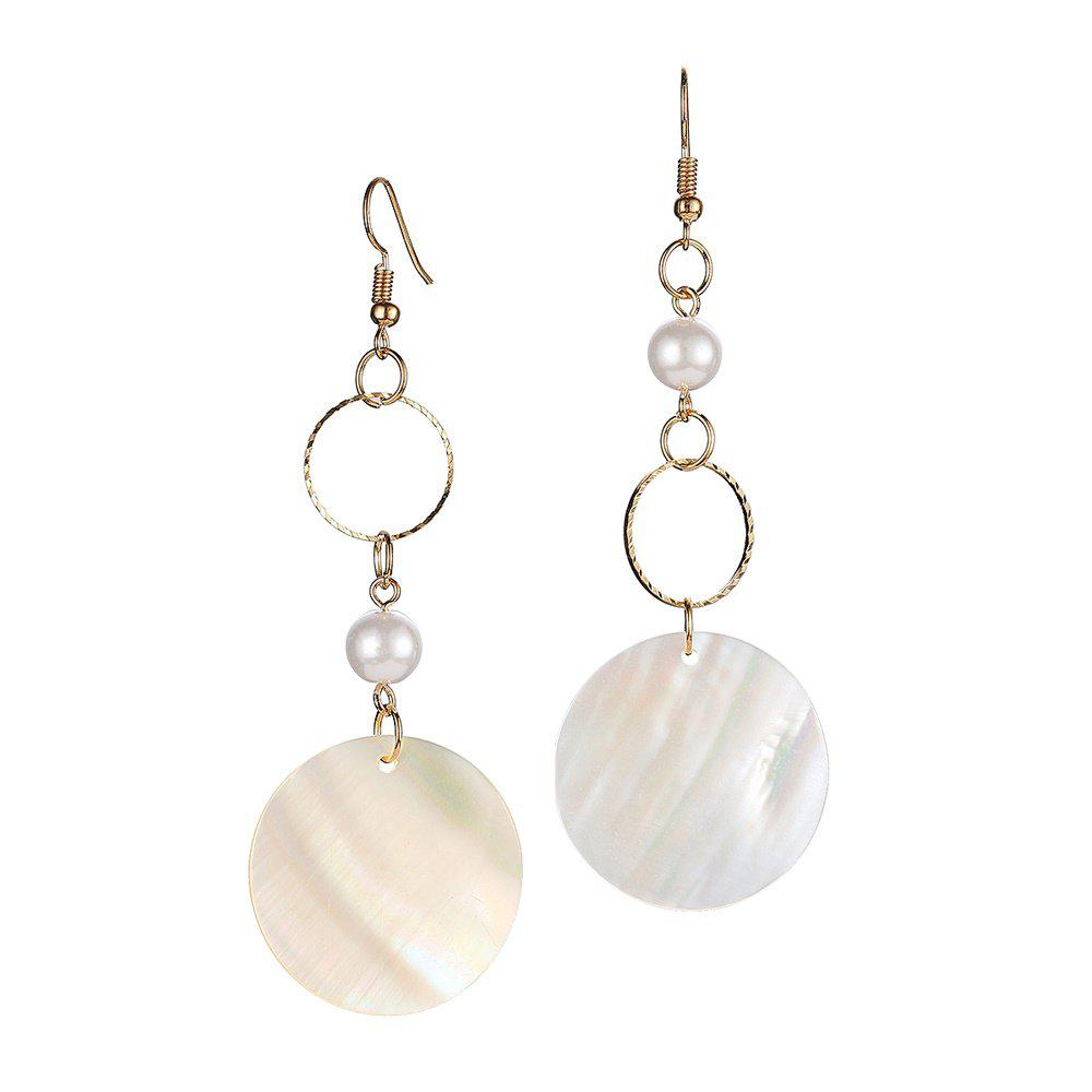 Round Shell Drop Earrings - GOLDEN