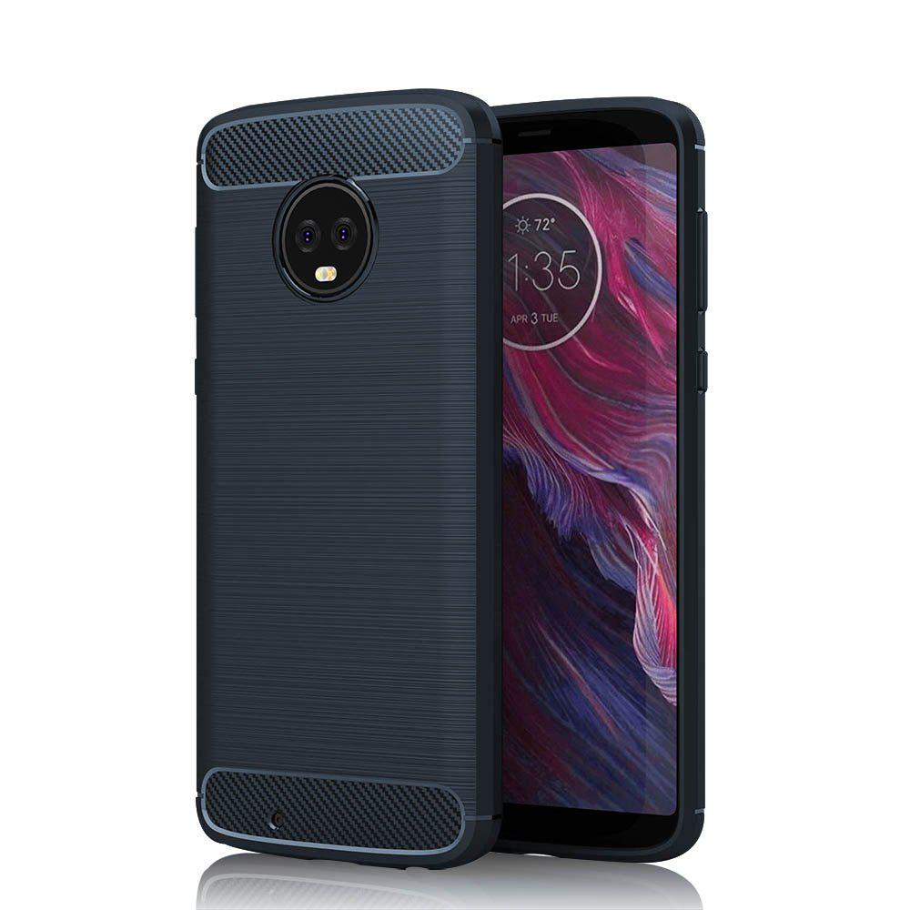JOFLO Phone Case for MOTO G6 Brushed Skid-Proof Carbon Fiber TPU Cover - CADETBLUE