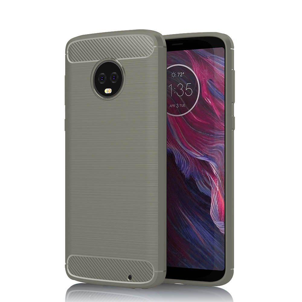 JOFLO Phone Case for MOTO G6 Plus Brushed Skid-Proof Carbon Fiber TPU Cover - GRAY