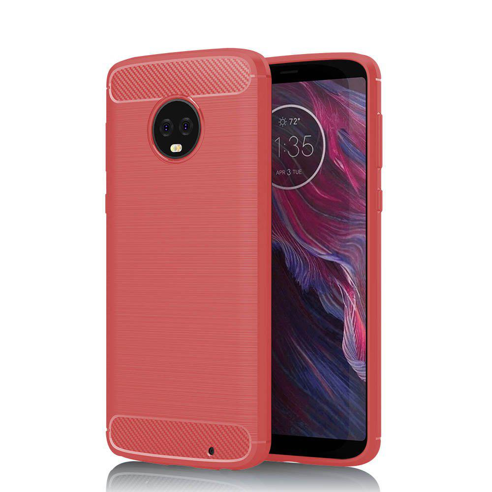 JOFLO Phone Case for MOTO G6 Plus Brushed Skid-Proof Carbon Fiber TPU Cover - RED