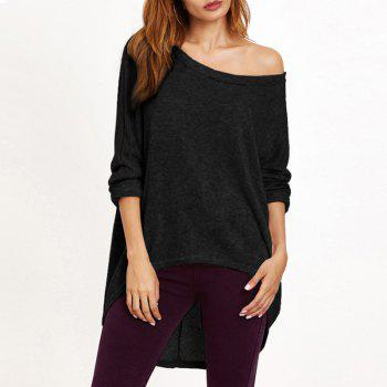 Round Neck Bat Sleeve Irregular Loose Sweater - BLACK S