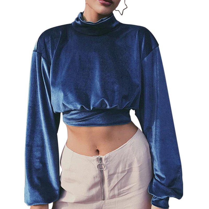 Silk Velvet Lantern Sleeve Half High Necked Crop Bottom Shirt - BLUE M