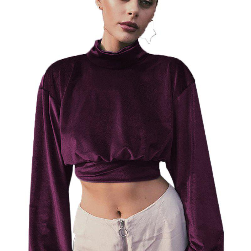 Silk Velvet Lantern Sleeve Half High Necked Crop Bottom Shirt - PURPLE XL