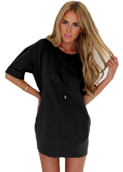 Fashionable Leisure Round Collar Loose Chiffon A Word Dress Girl - BLACK L