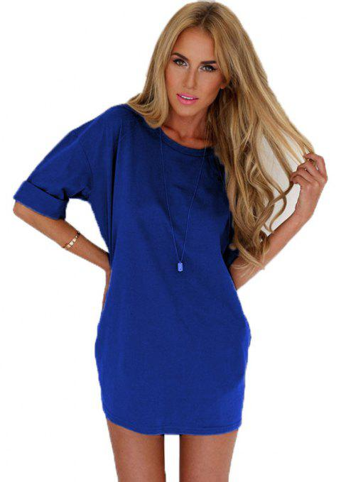 Fashionable Leisure Round Collar Loose Chiffon A Word Dress Girl - BLUE S