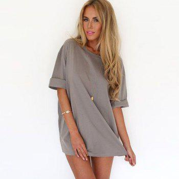 Fashionable Leisure Round Collar Loose Chiffon A Word Dress Girl - GRAY S