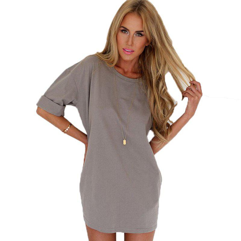 Fashionable Leisure Round Collar Loose Chiffon A Word Dress Girl - GRAY XL