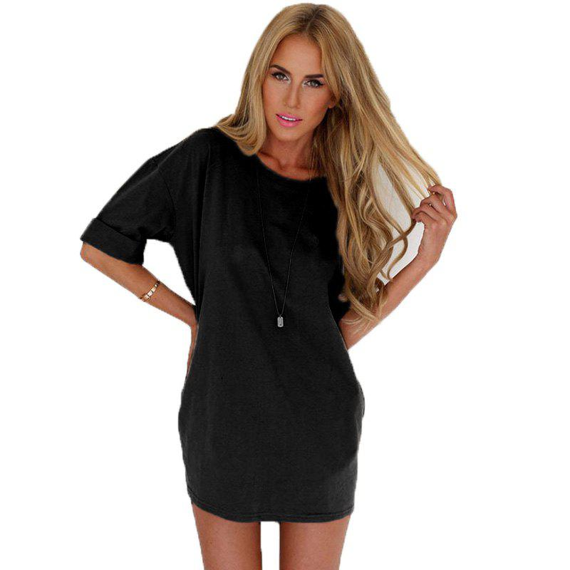 Fashionable Leisure Round Collar Loose Chiffon A Word Dress Girl - BLACK S