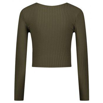 Spring Round Neck Long Sleeve T-Shirt - IVY M