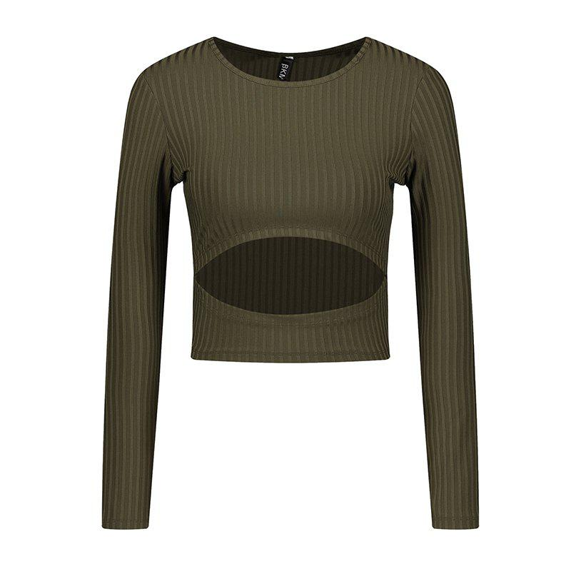 Spring Round Neck Long Sleeve T-Shirt - IVY S