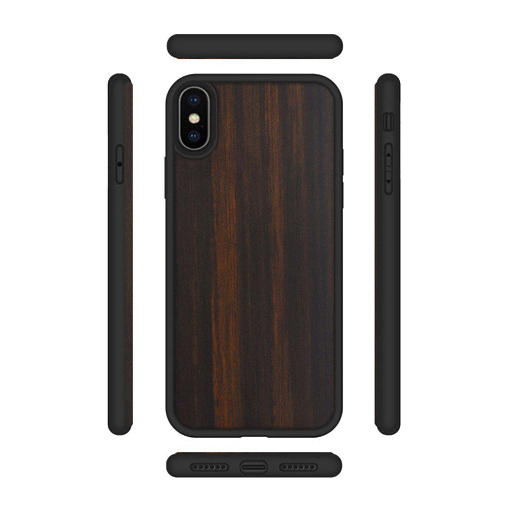 Ebony Phone Shell for iPhone X TPU Soft All-Inclusive Wood Cover - WOODEN BLACK