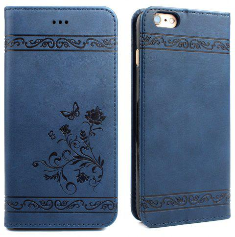 Flip Case for iPhone 6 Plus/6S Plus Wallet Leather Mobile Phone Holster Cover - BLUE