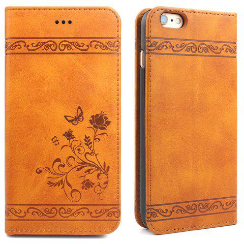Flip Case for iPhone 6 Plus/6S Plus Wallet Leather Mobile Phone Holster Cover - MANDARIN