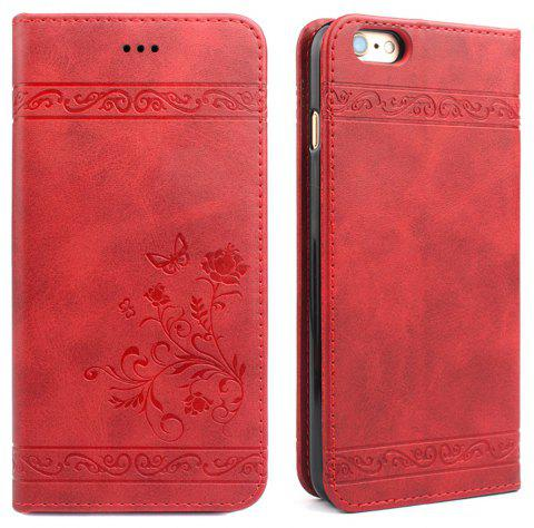 Flip Case for iPhone 6 Plus/6S Plus Wallet Leather Mobile Phone Holster Cover - RED