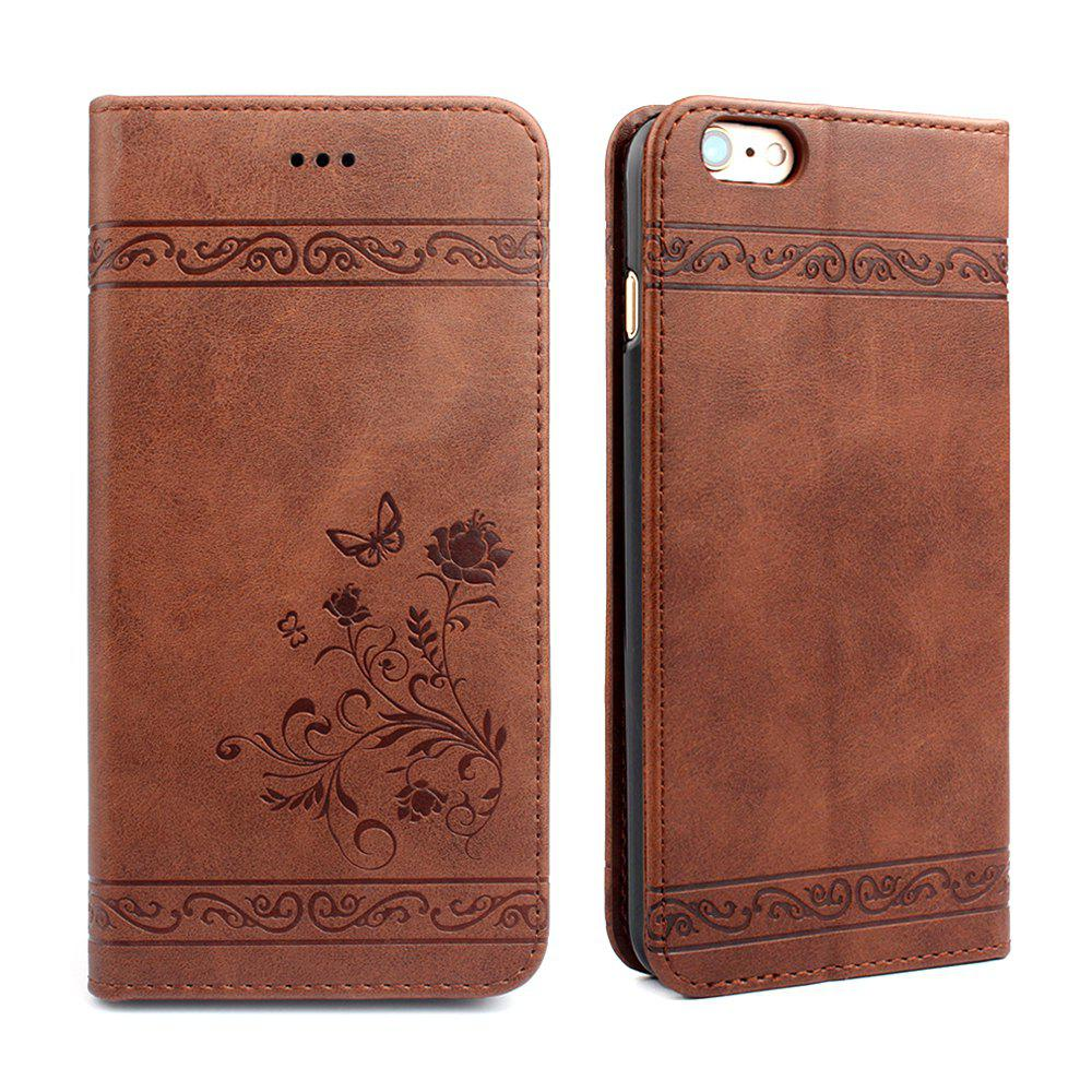 Flip Case for iPhone 6 Plus/6S Plus Wallet Leather Mobile Phone Holster Cover - BROWN
