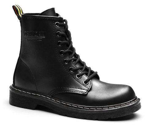 Women Fashion Casual Lace-up Leather Boots - BLACK 35