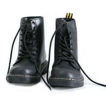 Women Fashion Casual Lace-up Leather Boots - BLACK 44
