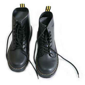 Women Fashion Casual Lace-up Leather Boots - BLACK 41