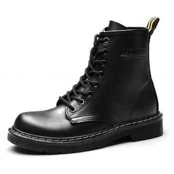 Women Fashion Casual Lace-up Leather Boots - BLACK 37