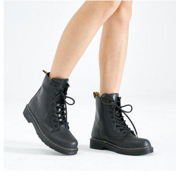 Women Fashion Casual Lace-up Leather Boots - BLACK 36