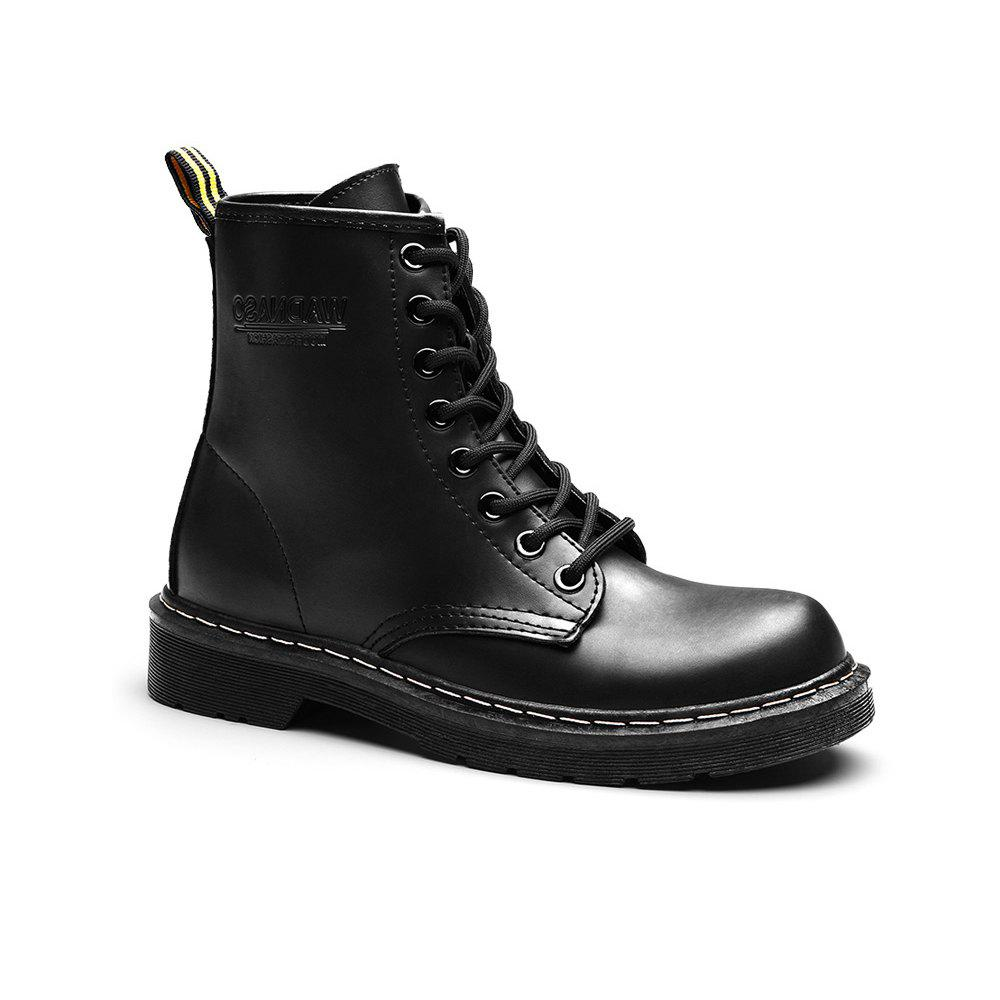 Women Fashion Casual Lace-up Leather Boots - BLACK 42
