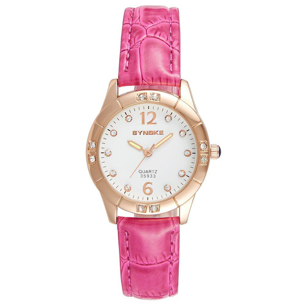 SYNOKE Fashionable PU Watchband Waterproof Female Quartz Watch - ROSE RED