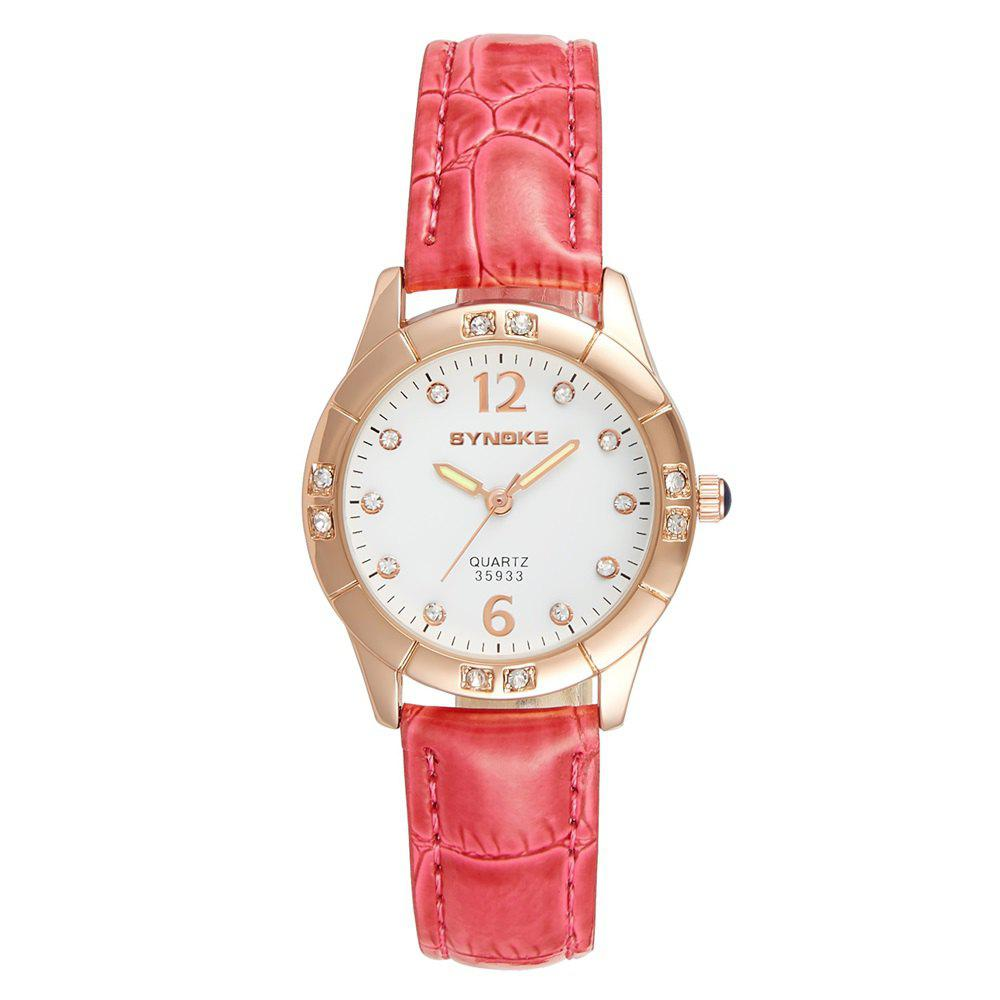 SYNOKE Fashionable PU Watchband Waterproof Female Quartz Watch - WATERMELON RED