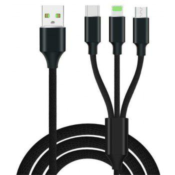 3 in 1  Type-C + 8 Pin + Micro USB Data Charging Cable+3 USB Fast Wall Charger for iPhone / Samsung / Huawei - BLACK / WHITE