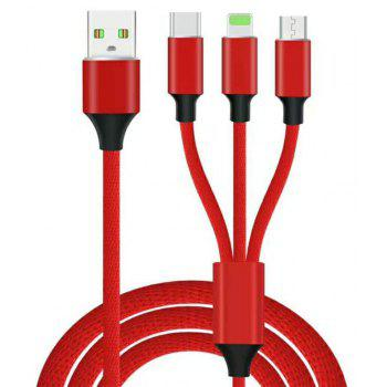 3 in 1  Type-C + 8 Pin + Micro USB Data Charging Cable+3 USB Fast Wall Charger for iPhone / Samsung / Huawei - WHITE / RED