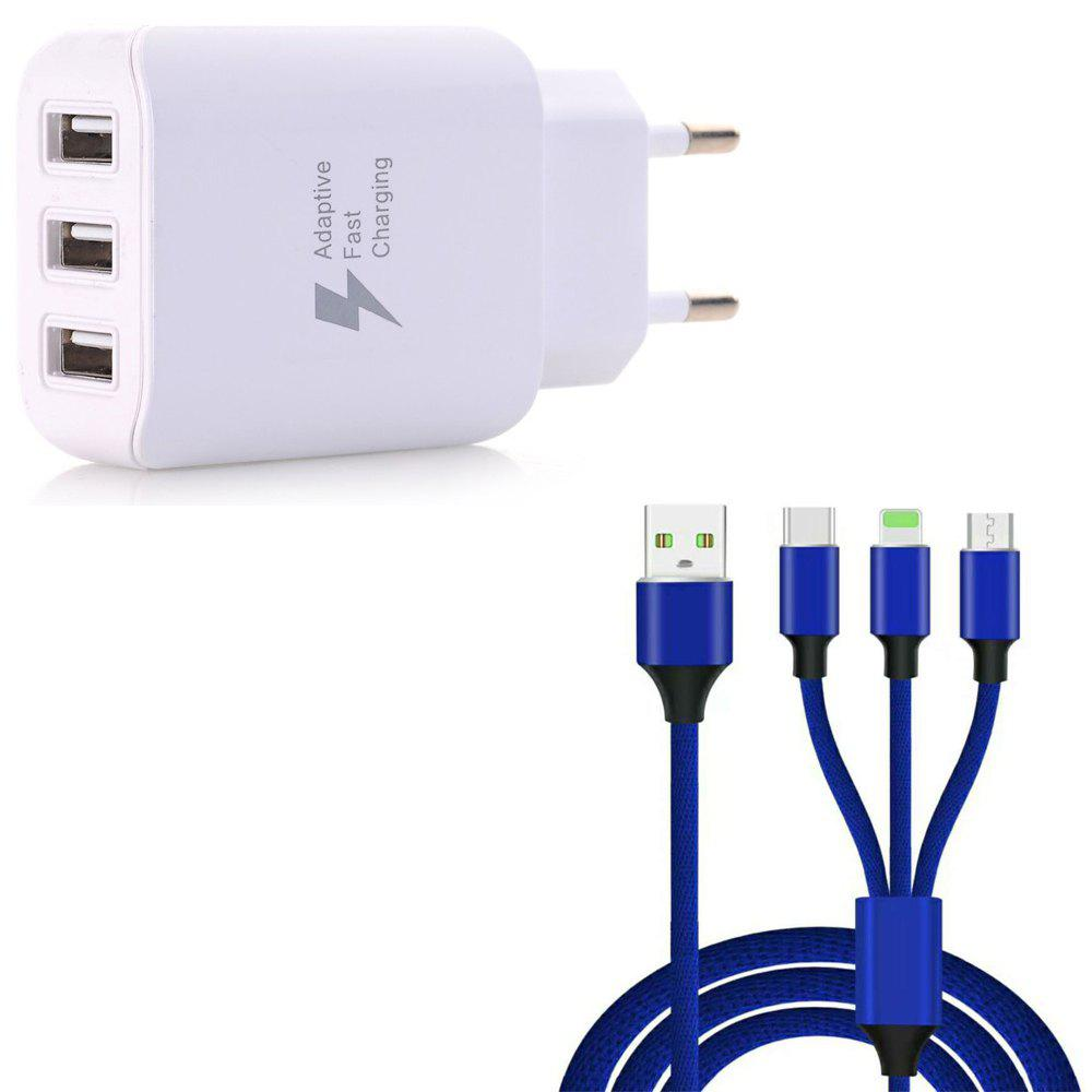 3 in 1  Type-C + 8 Pin + Micro USB Data Charging Cable+3 USB Fast Wall Charger for iPhone / Samsung / Huawei - BLUE/WHITE