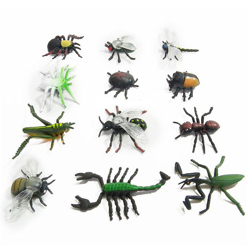 Simulation Insect Model Children Toy Spider Beetle Locusts Dragonfly Ant Scorpion Flies 12PCS - COLORMIX