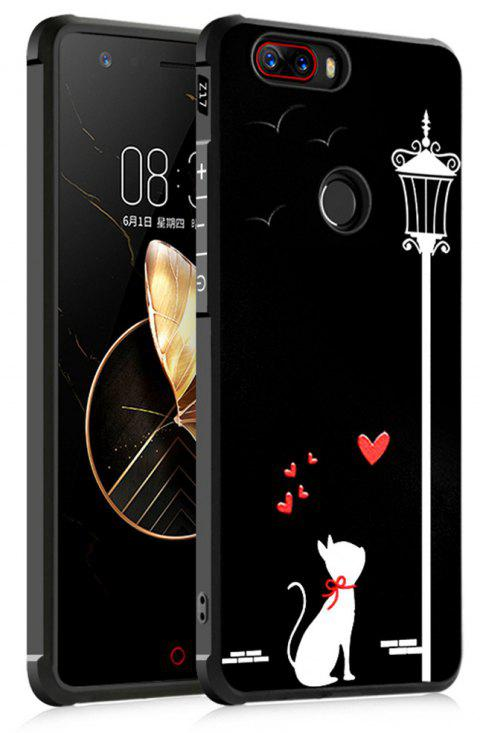 Shockproof Soft Silicone Case for Nubia Z17 Cover Case 3D Painting Fashion Full Protective Phone Case - BLACK CAT PATTERN